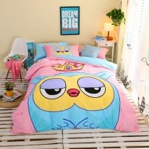 Pink Yellow and Aqua Bright Colorful Owl and Crown Print Modern Chic Cute Style Cartoon 100% Cotton Twin, Full Size Bedding Sets