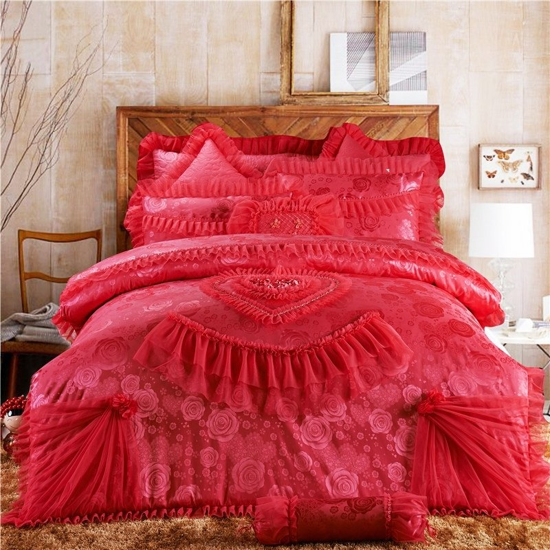 Watermelon Red Girls Victorian Heart Princess Style Girly Themed Luxury Lace and Ruffle Jacquard Linen Full, Queen Size Bedding Sets
