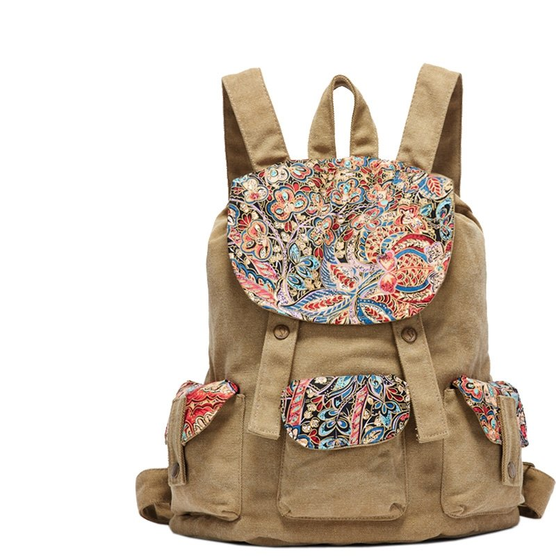 Vintage Gorgeous Canvas Girls Preppy School Book Bag Personalized Bohemian Tribal Colorful Floral Casual Bucket Drawstring Flap Backpack