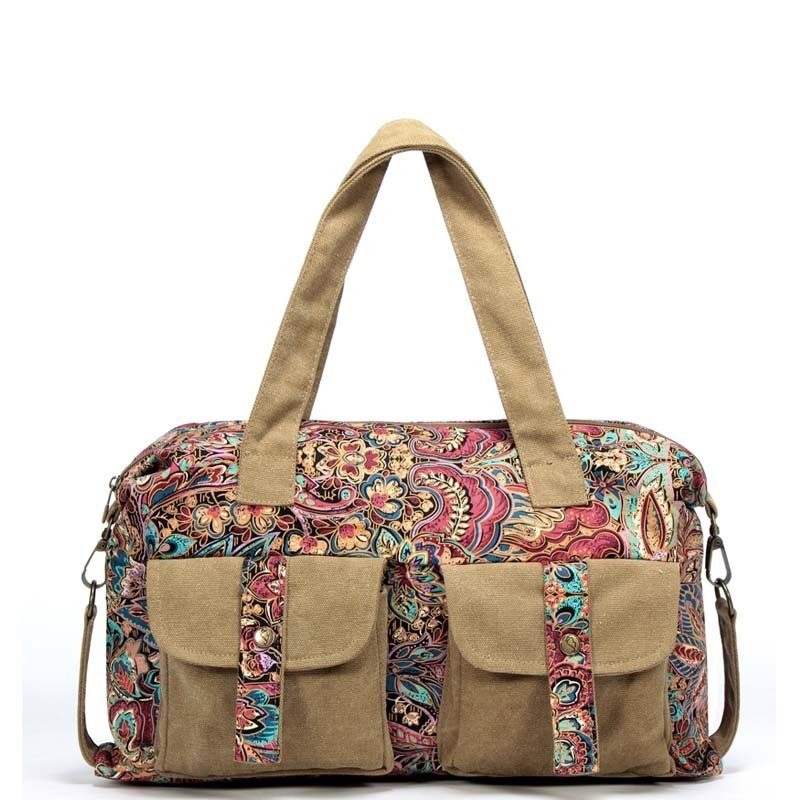 Durable Khaki Brown Canvas Travel Duffle Tote Red Blue Colorful Bohemian Vintage Western Floral Sewing Pattern Casual Women Shoulder Bag
