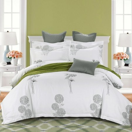 Grey and White Flower Print Hotel Style Simply Chic Old Fashion 100% Organic Cotton Full, Queen Size Bedding Sets
