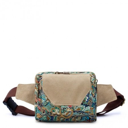 Durable Stylish Canvas Vintage Bohemian Style Colorful Western Floral with Lock Trim Casual Women Waist Bag for Hiking Cycling Travel