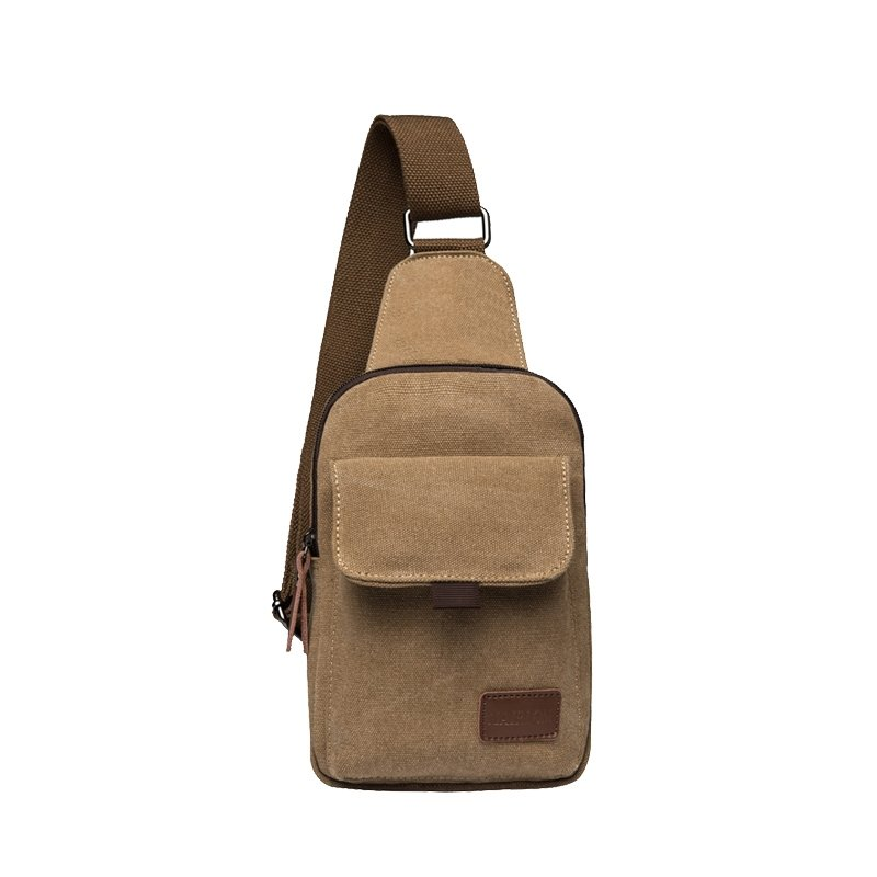 Stylish Plain Khaki Brown Durable Canvas Masculine Men Small Crossbody Chest Bag Trend Casual Sport Hiking Travel Sling Backpack