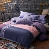 Deep Blue Purple and Pink Plaid and Medallion Masculine Style Old World 100% Brushed Cotton Full, Queen Size Bedding Sets for Adult