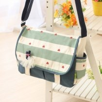 Durable Canvas Girls Preppy School Satchel Stylish Rugby Stripe and Heart Print Magnet Buckle Flap Messenger Crossbody Shoulder Bag