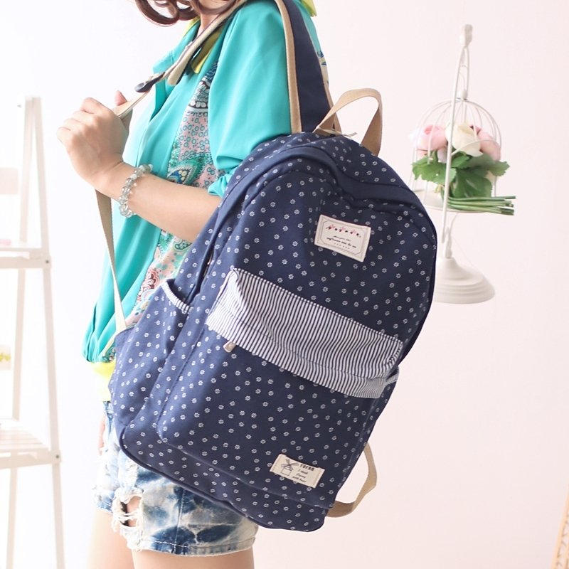 Dark Blue Canvas with White Flower and Pinstripe Junior Preppy School Book Bag Girls Stylish Travel Hiking 14 Inch Laptop Backpack