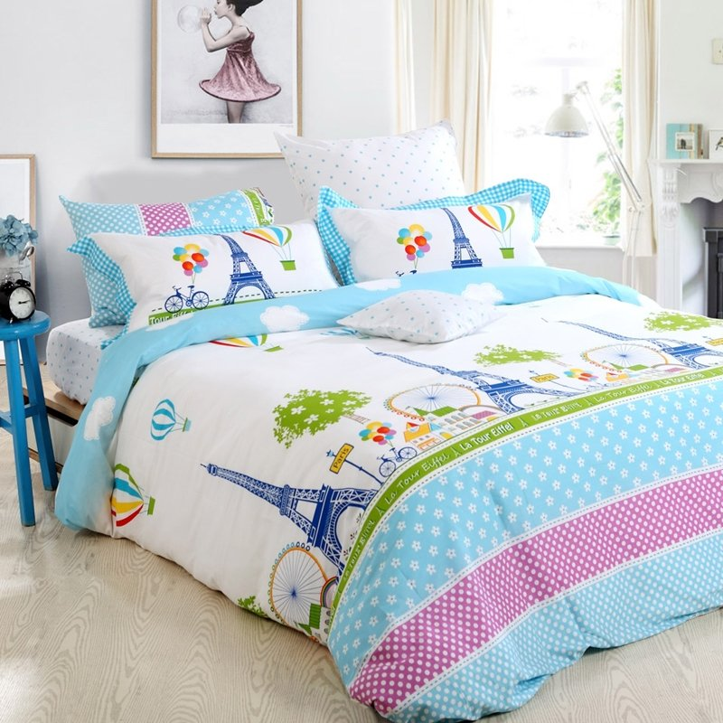 Sky Blue Green Purple and White Eiffel Tower Print Stylish Paris City French Chic 100% Cotton Full, Queen Size Bedding Sets