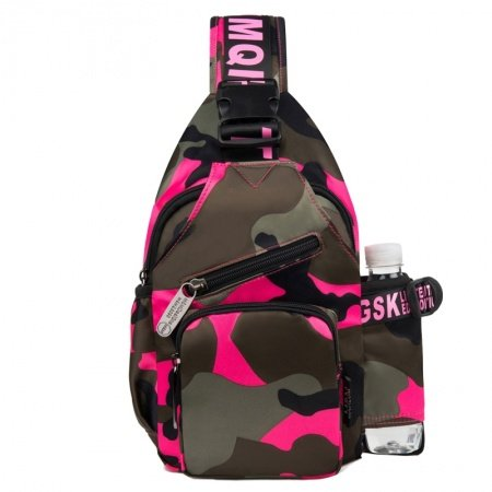 Personalized Hot Pink Coffee Army Camouflage Cool Women Crossbody Chest Bag Durable Oxford Casual Sport Hiking Travel Sling Backpack