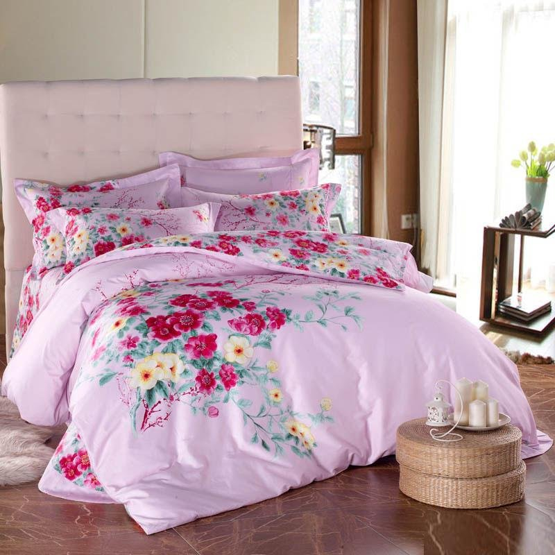 Pale Pink Red and Green Colorful Peach Blossom Print Full, Queen Size Girls Bedroom 100% Cotton Bedding Sets