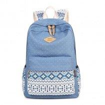 Steel Blue Canvas Stylish School Hiking Travel Laptop Backpack Bohemian Gypsy Aztec Personalized Chevron Stripe Girls Preppy Book Bag