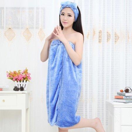 Plain Blue Spa Noble Casual 1 Piece Bathrobe Robe Strapless Chest Wrap Flannel Adult Women Spring Autumn Pajamas