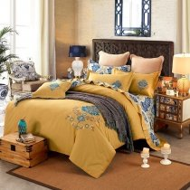 Harvest Gold and Cobalt Blue Rococo Pattern Old Fashion European Style Embroidered 100% Cotton Damask Full, Queen Size Bedding Sets