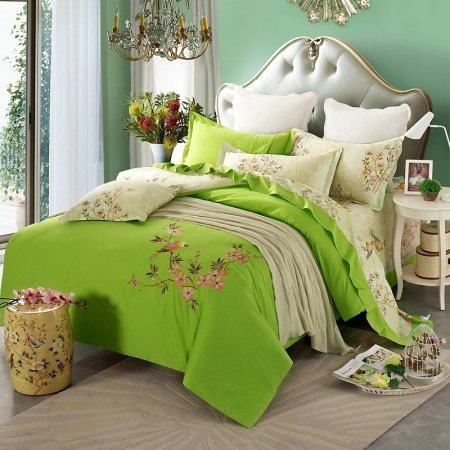 Bright Green and Beige Bird Design Flower Pattern Natural Rustic Style Abstract Design 100% Cotton Damask Full, Queen Size Bedding Sets