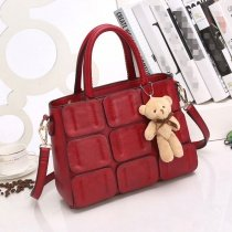 Luxury Solid Dark Red Appliques Vintage Women Casual Business Tote Vogue Sewing Pattern American Style Crossbody Shoulder Handle Bag