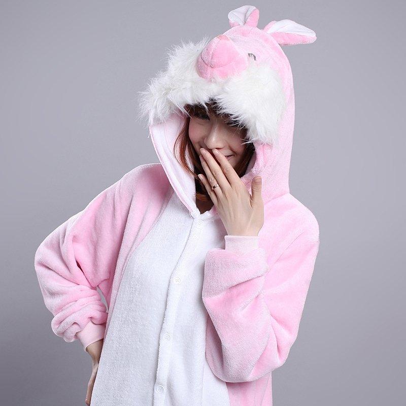 Rabbit Bunny Animal Anime Cartoon Cosplay Rompers Onesies Hooded Halloween Christmas Costume Unisex Polyester Winter Pajamas