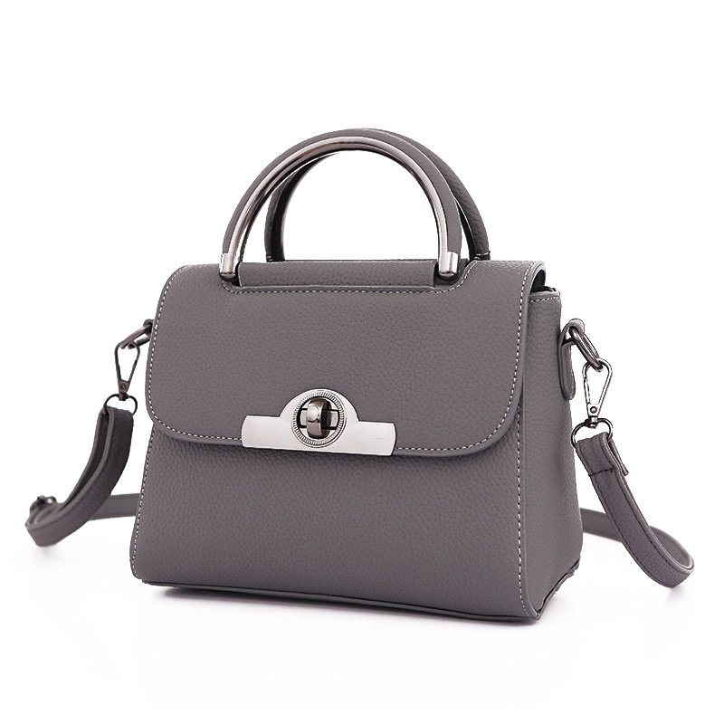 Trend Solid Taupe Gray Hard Shell Faux Leather Women Small Tote Stylish Lock Buckle Sewing Pattern Party Flap Crossbody Shoulder Bag