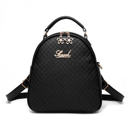 Elegant Black Faux Leather Lady Quilted Travel Backpack Durable Embossed Small Tote Korean Style Casual Party Crossbody Shoulder Bag