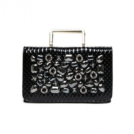 Durable Black Patent Leather Bling Rhinestone Women Flap Evening Party Clutch Personalized Embossed Snakeskin Crossbody Shoulder Tote Bag