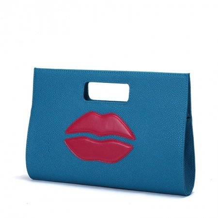 Personalized Cobalt Blue Faux Leather with Red Lip Pattern Casual Party Evening Clutch Luxury Sewing Pattern Women Shoulder Tote Bag