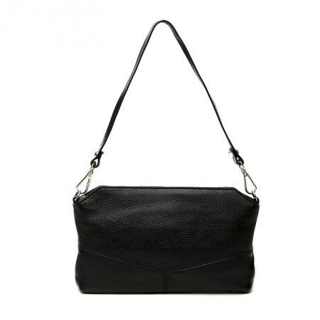 Simply Chic Black Genuine Cowhide Leather Envelope Evening Clutch Vogue Sewing Pattern Women Casual Party Small Baguette Shoulder Bag