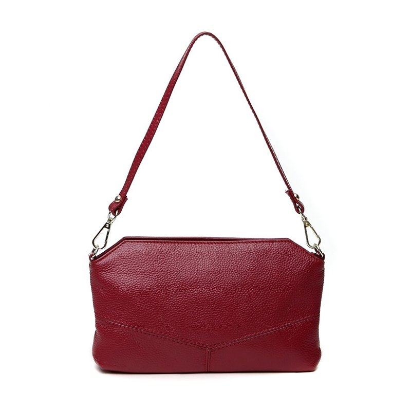 Luxury Burgundy Red Genuine Cowhide Leather Women Small Baguette Shoulder Bag Vogue Sewing Pattern Casual Party Envelope Evening Clutch