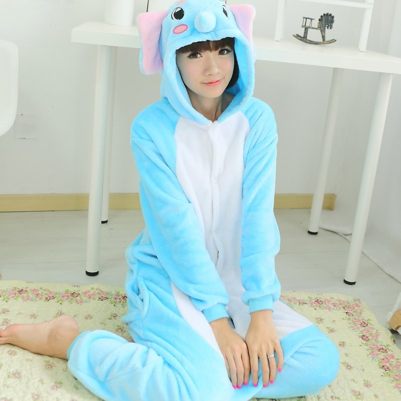 Cute Lovely Elephant Animal Cosplay Costume 100% Polyester Girls Boys Unisex Cartoon Hooded Onesie Pajamas Toileting Version