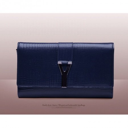 Dark Blue Genuine Cowhide Leather Embossed Crocodile Flap Evening Party Clutch Fashion Sequined Magnet Buckle Women Crossbody Shoulder Bag