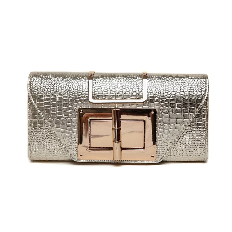 Stylish Patent Leather Embossed Crocodile Sequined Women Envelope Evening Clutch Vogue Sewing Pattern Chain Strap Crossbody Shoulder Bag