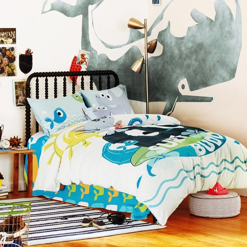Ocean Blue White and Yellow Whale Print Cartoon Themed Hawaiian Style 100% Cotton Twin, Full Size Bedding Sets for Boys and Kids