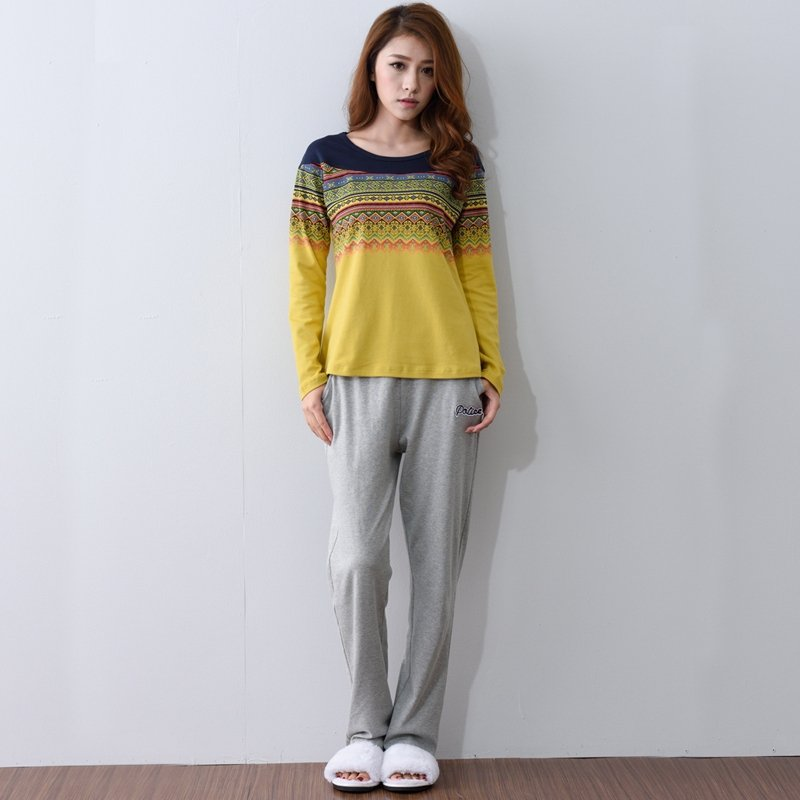 Yellow Aztec Stripe Shirt and Grey Trousers Unique Personalized Pajamas for Girls Lady