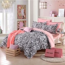 Girls Black White and Pink Zebra Stripe Print Modern Chic Abstract Design Reversible 100% Organic Cotton Queen Size Bedding Sets