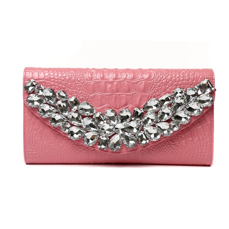 Salmon Pink Cowhide Leather Western Bling Rhinestone Studded Evening Clutch Wallet Embossed Crocodile Girls Flap Crossbody Shoulder Bag