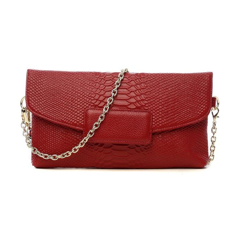 Stylish Garnet Red Genuine Cowhide Leather Lady Envelope Evening Clutch Boutique Embossed Crocodile Chain Flap Crossbody Shoulder Bag
