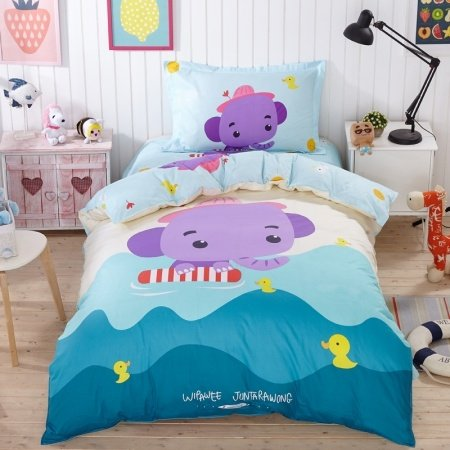 Kids Ocean Blue Violet Purple and White Elephant and Duck Print Animal Themed Funny Style Personalized 100% Cotton Twin Size Bedding Sets