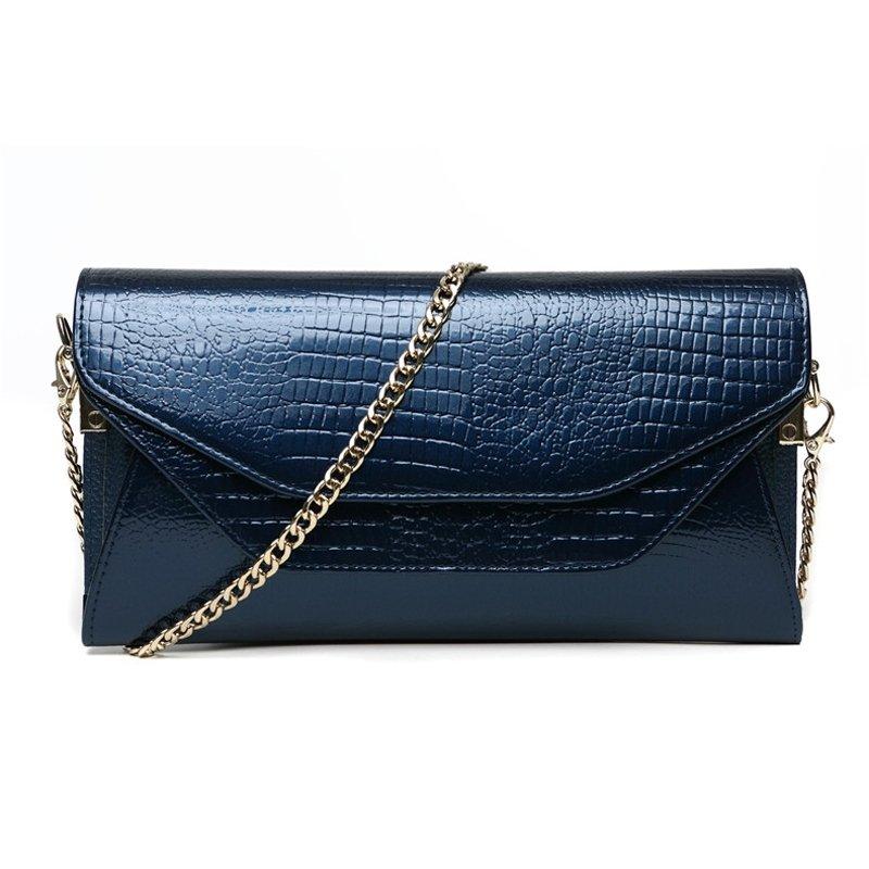 Cobalt Blue Genuine Cowhide Leather Embossed Crocodile Lady Envelope Evening Clutch Magnetic Closure Chain Flap Crossbody Shoulder Bag