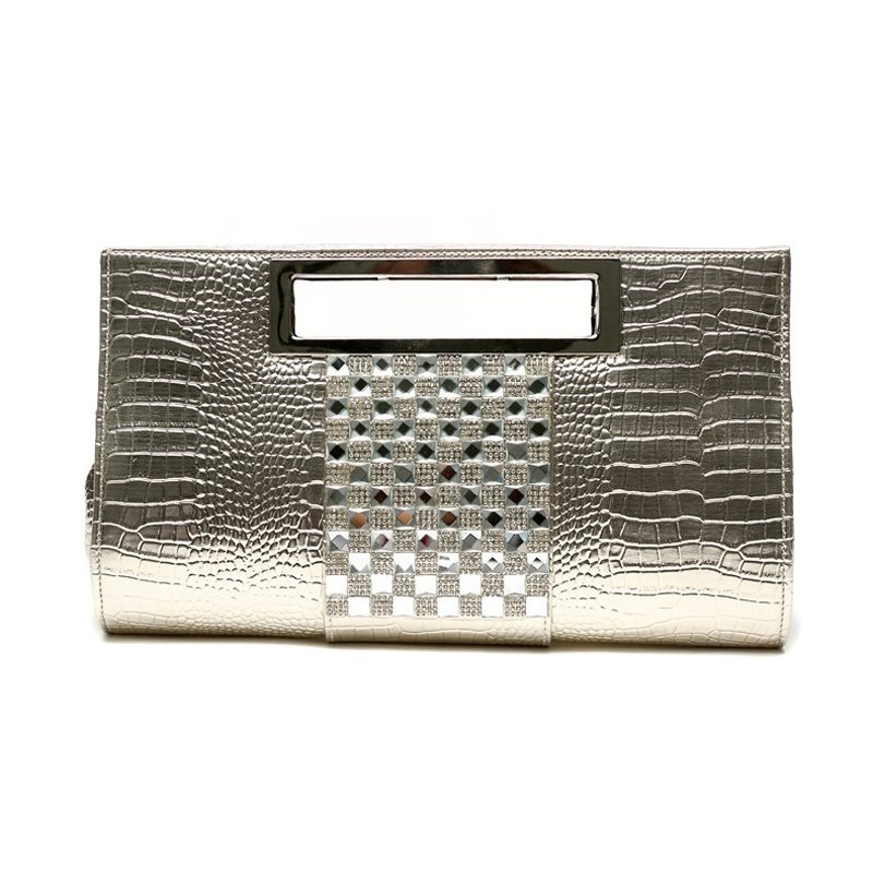 Gorgeous Gold Patent Leather Bling Rhinestone Women Evening Clutch Embossed Crocodile Casual Party Chain Crossbody Shoulder Tote Bag