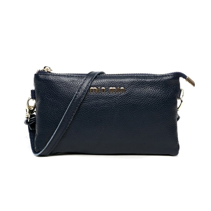 Simply Chic Dark Blue Genuine Cowhide Leather Lady Casual Party Clutch Wristlet Hipster Sewing Pattern Sequin Crossbody Shoulder Bag
