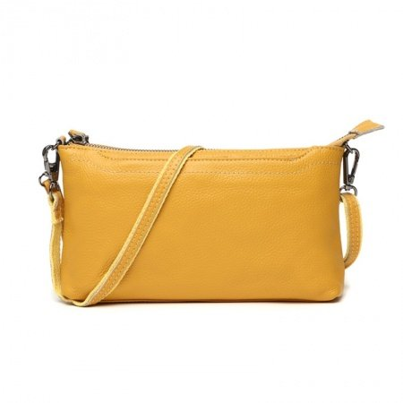 Gorgeous Plain Lemon Yellow Genuine Cowhide Leather Women Evening Clutch Durable Sewing Pattern Casual Party Crossbody Shoulder Bag