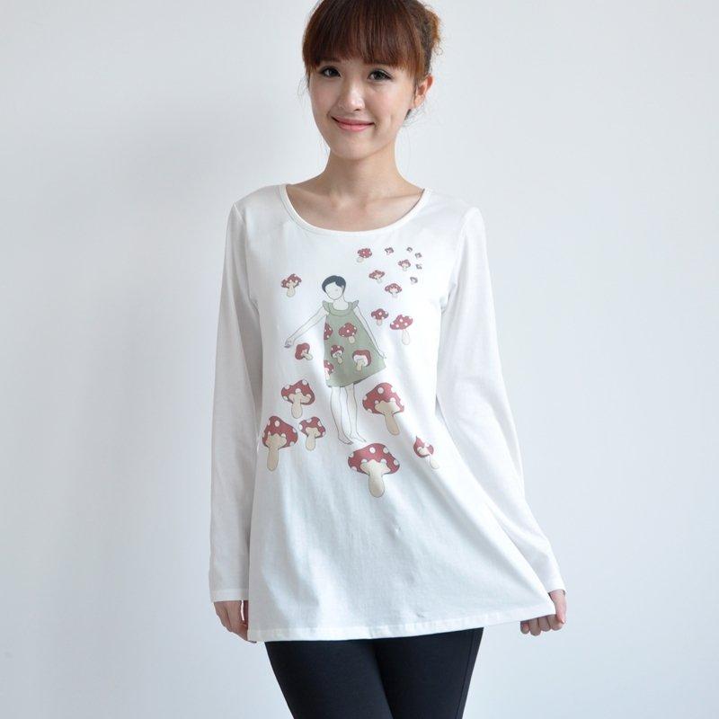 White Cartoon Mushroom Print Personalized Bra-t Shirt Girls Pajamas Top S M L XL XXL