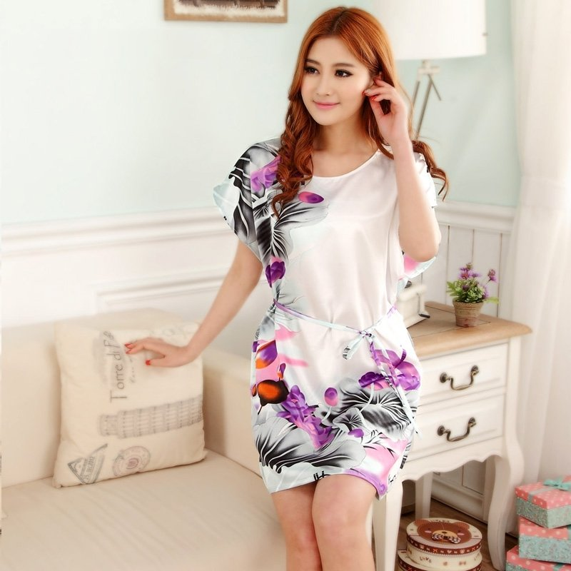 Purple White Lotus Flower Print Sexy Elegant One Piece Dress Free Size Girls Pajamas