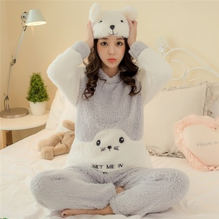 Animal Cartoon Seals Embroidered Crewneck Long Sleeve Shirt and Trousers Cute Warm Pajamas M