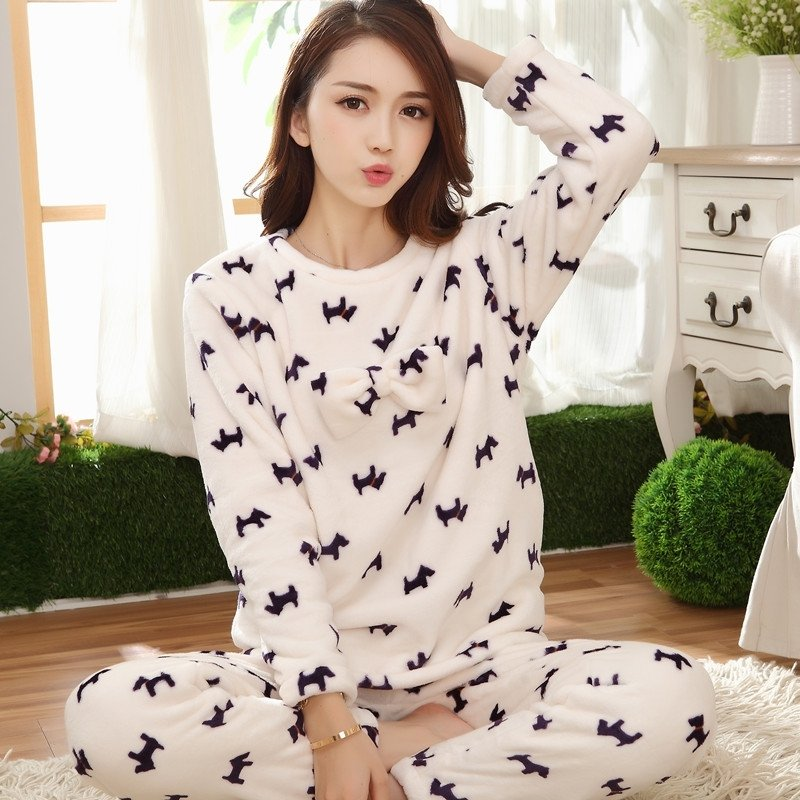 Off-white Cartoon Animal Dog Print Flannel 2 Pieces Shirt and Trousers Warm Pajamas for Women M