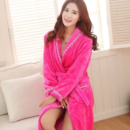 Solid Plum Flannel Wide-Lapel Long Sleeve Waist Tie Bathrobe with Edge Trim Night Robe Free Size Pajamas for Women