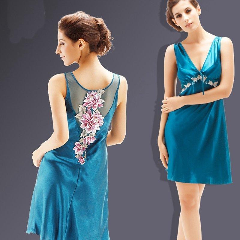 Leopard Blue Flower V-neck Midi Camisole Dress Romantic Fashion Summer Pajamas for Girls M L XL XXL XXXL