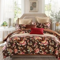 Coffee Brown Raspberry Red and White Rustic Lodge Style Old World Earth Tone 100% Egyptian Cotton Full, Queen Size Bedding Sets