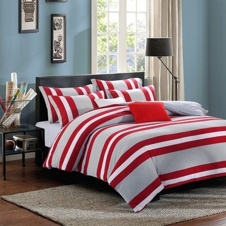 Red White and Gray Modern Rugby Stripe Print Personalized Reversible Knitted 100% Egyptian Cotton Full, Queen Size Bedding Sets