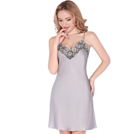 Silver Grey 100% Nature Silk Sling Dress Deep V Spaghetti Strap Gown Sexy Noble Pajamas for Feminine Girly M L XL