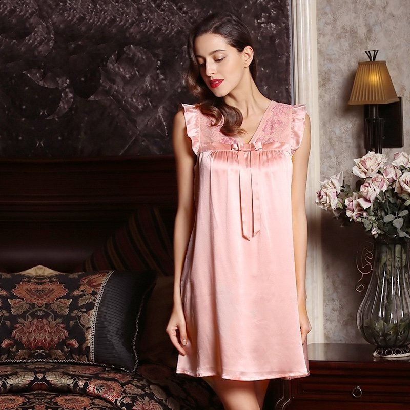 Pink 100% Pure Silk Embroidered Nightgown Nightdress European Style Pajamas for for Feminine Girly M L XL