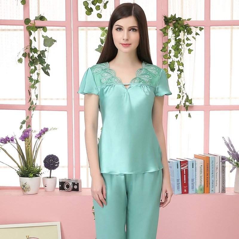 Solid Emerald Green 100% Nature Silk 2 Pieces Short Sleeve Shirt Knee-length Pants Sweet Silky Pajamas for Feminine Girly M L XL XXL
