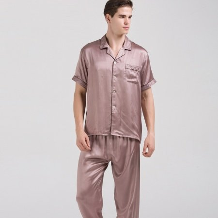 Rosy Brown 100% Pure Silk Short Sleeve Shirt and Trousers 2pc Luxury Noble Pajama Set for Men L XL XXL